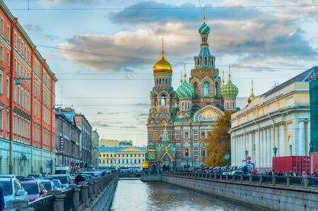 jesus standing: ST PETERSBURG, RUSSIA - OCTOBER 3, 2016. Cathedral of Our Savior on Spilled Blood and Griboedov channel in St Petersburg, Russia