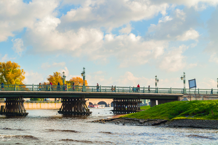 ST PETERSBURG, RUSSIA - OCTOBER 3, 2016. Ioannovsky or St John gates and Ioannovsky bridge to the Peter and Paul fortress in St Petersburg, Russia