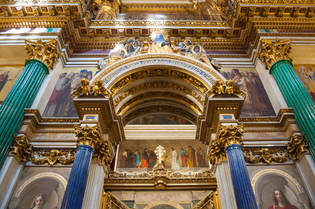 ST PETERSBURG, RUSSIA - AUGUST 15, 2017. Decorations and Bible paintings in the interior of the St Isaac Cathedral in St Petersburg, Russia