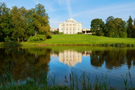 PAVLOVSK, RUSSIA - SEPTEMBER 21, 2017. Pavlovsk park, Pavlovsk Palace near Slavyanka river - summer palace of Emperor Paul I in Pavlovsk, Saint Petersburg Russia