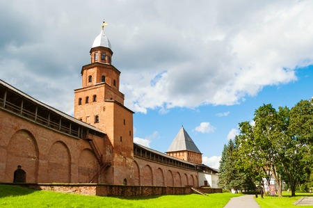 VELIKY NOVGOROD, RUSSIA - AUGUST 12, 2016. Kokui Tower and Inrecession Tower of Novgorod Kremlin in Veliky Novgorod, Russia