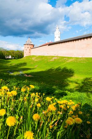 Veliky Novgorod, Russia. The Metropolitan Tower and Clock Tower of Veliky Novgorod Kremlin, selective focus at the landmarks Banque d'images - 119170568