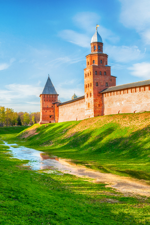Veliky Novgorod, Russia. Towers and walls of Veliky Novgorod Kremlin on the hill at sunset in Veliky Novgorod, Russia - summer panorama, hdr applied Banque d'images - 119170570