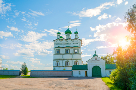 Veliky Novgorod, Russia. Church of St John the Evangelist with the refectory church of the Ascension in Nicholas Vyazhischsky stauropegic monastery, summer view