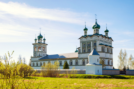 Veliky Novgorod, Russia. Panorama of Nicholas Vyazhischsky stauropegic monastery in spring day in Veliky Novgorod Russia Stock Photo