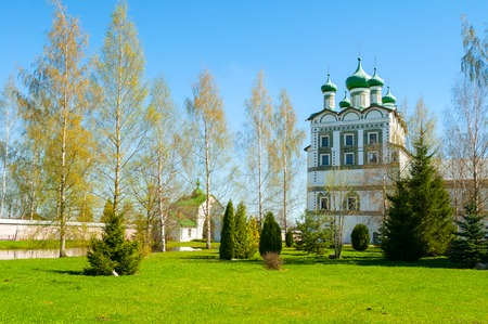 Veliky Novgorod, Russia. Church of St John the Evangelist with the refectory church of the Ascension in Nicholas Vyazhischsky stauropegic monastery - spring architecture landscape Stock Photo