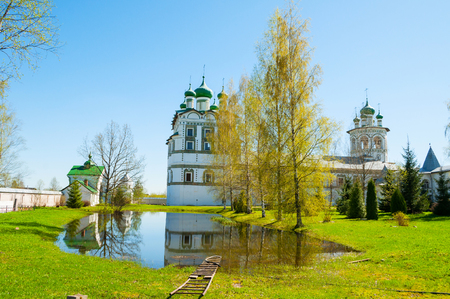Veliky Novgorod, Russia. Church of St John the Evangelist with the refectory church of the Ascension in Nicholas Vyazhischsky stauropegic monastery - panoramic view