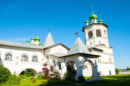 Veliky Novgorod, Russia. Belfry and architectural ensemble in Nicholas Vyazhischsky stauropegic female monastery - summer view