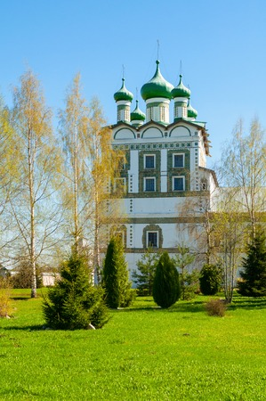 Veliky Novgorod, Russia. Church of St John the Evangelist with the refectory church of the Ascension in Nicholas Vyazhischsky stauropegic female monastery