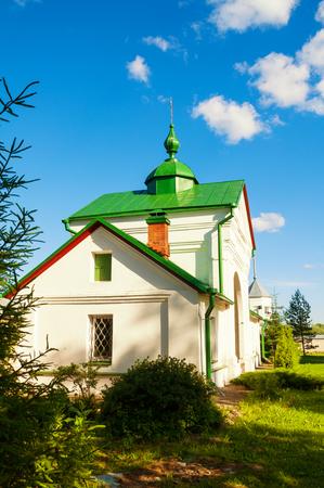 Veliky Novgorod, Russia - the Holy Gates of St Nicholas Vyazhischsky stauropegic monastery in Veliky Novgorod Russia, spring sunny view Stock Photo