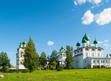Veliky Novgorod, Russia. Panoramic scene of Nicholas Vyazhischsky stauropegic monastery in spring day in Veliky Novgorod Russia
