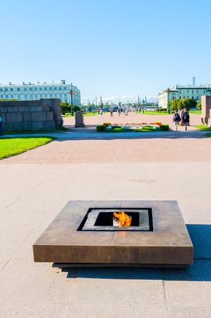 St Petersburg, Russia -August 15, 2017. Eternal flame memorial at the Field of Mars in St Petersburg, Russia