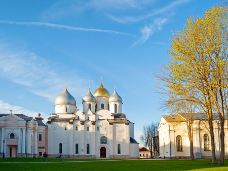 Veliky Novgorod, Russia - May 7, 2018. St Sophia cathedral in spring sunny evening. Architecture landscape of Veliky Novgorod Russia landmark Редакционное