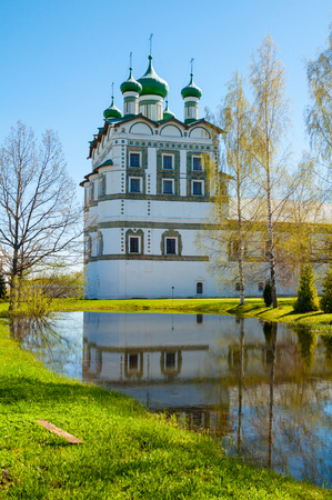 Veliky Novgorod, Russia. Church of St John the Evangelist with the refectory church of the Ascension in Nicholas Vyazhischsky stauropegic monastery - spring view