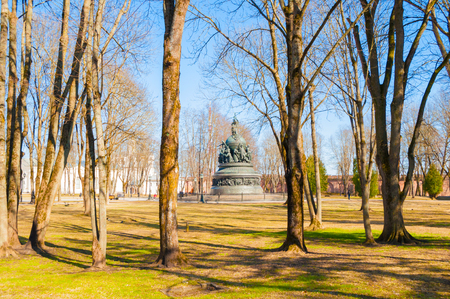Kremlin park and the monument Millennium of Russia in spring sunny afternoon
