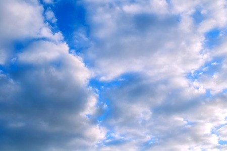 Sky landscape. Blue sky background with white dramatic clouds, cloudy sky scene