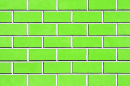 Brick wall background - new bricks wall pattern. Texture brick wall of green color