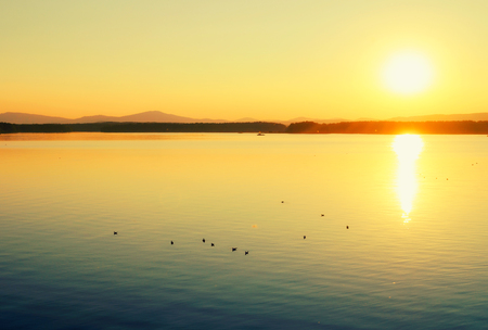 Sea landscape. Summer sunset sea scene. Sea harbor - summer nature with mountain range at the horizon and birds on the water surface