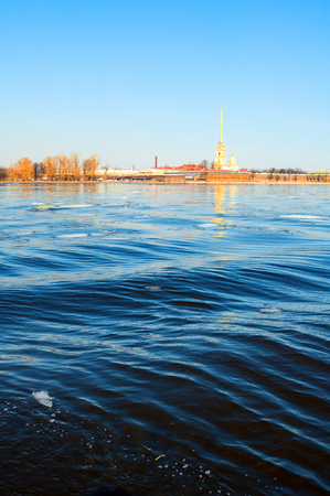 St Petersburg, Russia. Peter and Paul fortress at the bank of the Neva river in Saint Petersburg Russia. Landmarks of the Hare island