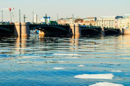 Exchange Bridge over the Neva river in Saint Petersburg,Russia. It is a bascule bridge in Saint Petersburg, opened in 1894