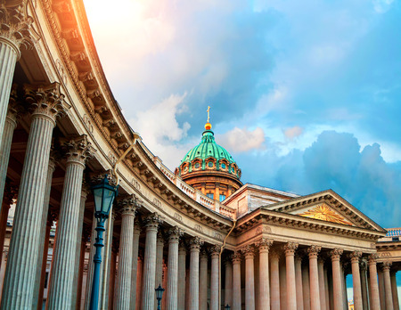 Kazan Cathedral in St Petersburg, Russia. Dome and colonnade of Kazan Cathedral in St Petersburg, Russia under evening sunshine. Soft filter applied