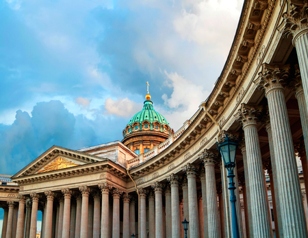Kazan Cathedral in St Petersburg, Russia. Dome and colonnade of Kazan Cathedral in St Petersburg, Russia under cloudy sky. Soft filter processing Stok Fotoğraf
