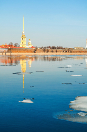 St Petersburg, Russia. Peter and Paul fortress at the bank of the Neva river in Saint Petersburg Russia. City landmarks of the Hare island, spring view
