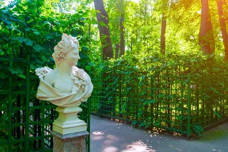 St Petersburg, Russia - June 6, 2019. Sculpture Allegory of Autumn or Bacchus in the Summer Garden. Summer garden - the most famous garden in St Petersburg Russia