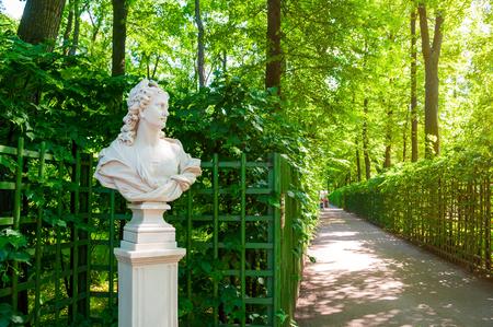 St Petersburg, Russia - June 6, 2019. The allegorical sculpture of Day in the Summer Garden. Summer garden - the most famous garden in Saint Petersburg Russia
