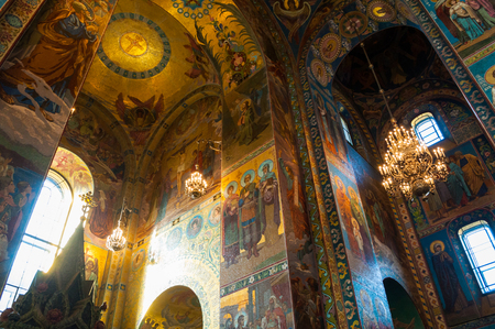 Saint Petersburg, Russia - April 5, 2019. Cathedral of Our Savior on Spilled blood. Interior of St Petersburg landmark. Mosaics at the columns and walls inside the cathedral Editorial
