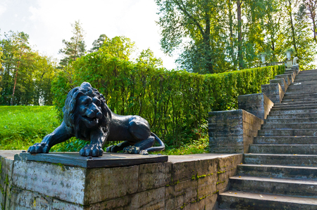 Pavlovsk, St Petersburg, Russia- September 21, 2017. Large stone staircase and sculpture of a black lion on the pedestal in Pavlovsk park, St Petersburg region, Russia