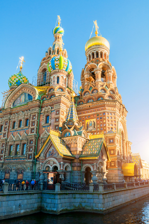 St Petersburg, Russia - August 15, 2017. Cathedral of Our Savior on Spilled Blood closeup facade scene. Architecture landscape of St Petersburg famous landmark