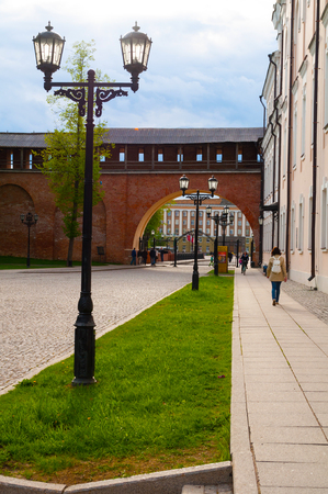 Veliky Novgorod, Russia - May 26, 2017. Veliky Novgorod Kremlin park and people walking along in Veliky Novgorod. City landscape