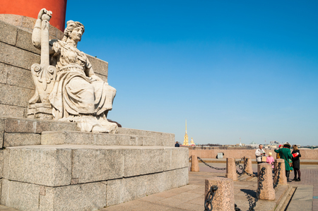 Saint Petersburg, Russia - April 5, 2019. Allegorical figure of the Neva river and Custon building in Saint Petersburg Russia. City landmarks of the Vasilievsky island spit