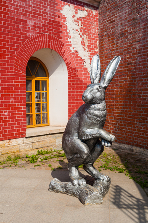 Saint Petersburg, Russia - June 6, 2019. Big rabbit sculpture on the territory of Peter and Paul fortress in St Petersburg, Russia