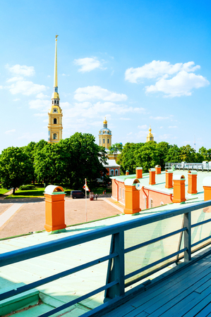 Saint Petersburg, Russia - June 6, 2019. Peter and Paul cathedral with belfry - view from height. Peter and Paul Fortress in St Petersburg, Russia