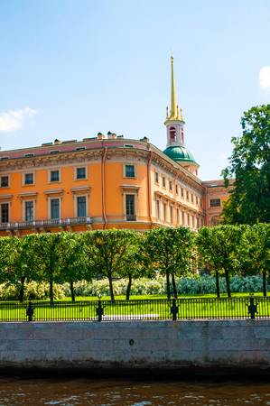 St Petersburg, Russia - June 6, 2019. Mikhailovsky Castle or Engineers Castle in St Petersburg, Russia - Northern side view of St Petersburg landmark. Architecture landmark of St Petersburg, Russia