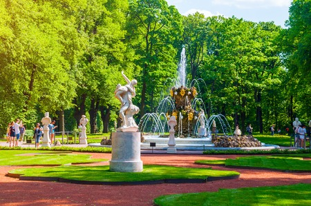St Petersburg, Russia - June 6, 2019. Summer garden - the most famous garden in St Petersburg. It was founded in 1704 by order of Peter the Great, who was personally involved in planning it