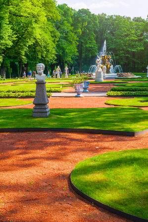 St Petersburg, Russia - June 6, 2019. Summer garden - the most famous garden in St Petersburg. It was founded in 1704 by order of Peter the Great