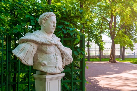 St Petersburg, Russia - June 6, 2019. The sculpture of Jan Sobieski, Polish King in the Summer Garden. Summer garden - the most famous garden in Saint Petersburg Russia