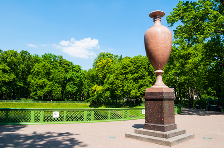 St Petersburg, Russia - June 6, 2019. Elfdaler porphyry vase, a gift to Emperor Nicholas I from the Swedish King Charles XIV. Summer garden - the most famous garden in St Petersburg Russia