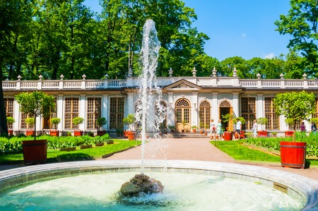 St Petersburg, Russia - June 6, 2019. Street cafe pavilion and fountain in Summer garden -the most famous garden in St Petersburg founded in 1704 by order of Peter the Great 報道画像