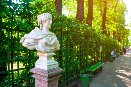 St Petersburg, Russia - June 6, 2019. Kurfursten of Brandenburg - wife of Frederick I, King of Prussia. Summer garden - the most famous garden in St Petersburg Russia