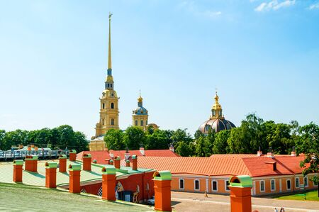 Peter and Paul cathedral with belfry - view from height. Peter and Paul Fortress in Saint Petersburg, Russia Stock Photo