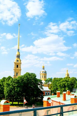 Peter and Paul cathedral with belfry - summer view from height. Peter and Paul Fortress in St Petersburg, Russia Stock Photo