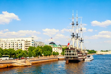 St Petersburg, Russia - June 6, 2019. Neva river and frigate Grace in St Petersburg, Russia.Frigate is a historical reconstruction of the three-Decker ships of the XVIII century