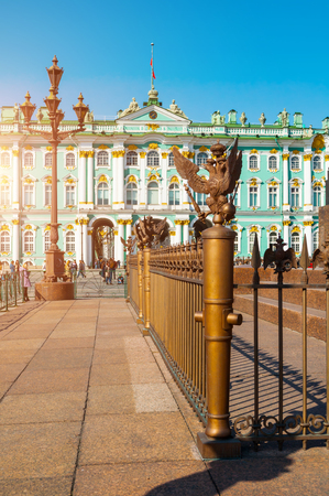 St Petersburg, Russia - April 5, 2019. Winter Palace and Hermitage Museum Building. The Winter Palace was the official residence of the Russian Emperors from 1732 to 1917. Focus at the eagle