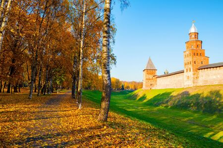 Veliky Novgorod, Russia. Kokui and Prince towers of Veliky Novgorod Kremlin fortress in sunny autumn day. Focus at the Kremlin fortress