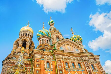 St Petersburg, Russia - Cathedral of Our Savior on Spilled Blood, closeup of domes and architecture details. Architecture facade view of St Petersburg landmark