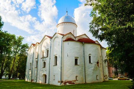 Veliky Novgorod, Russia. The Church of St John the Baptist on Opoki. The church included a Merchant Court that heard litigation on various commercial issues